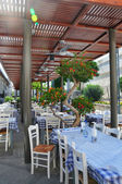Small restaurant on the outdoor terrace — Stock Photo