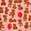 Seamless texture with teddy bears, hearts and balloons on pink b — Векторная иллюстрация