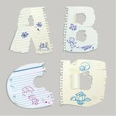 Englisches alphabet - bestehen briefe aus altpapier - buchstaben a, b, — Stockvektor