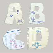 English alphabet - letters are made of old paper - letters A, B, — Stock Vector