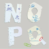 English alphabet - letters are made of old paper - letters N, O, — Stock Vector