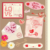 Set of Vintage Valentine — Stock Vector