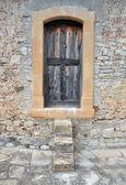 Old Wooden Door on brick wall — Stock Photo