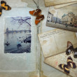 Photo: Vintage background with blank space for your text, butterflies a