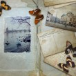 图库照片: Vintage background with blank space for your text, butterflies a