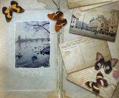 Ročník pozadí s prázdné místo pro váš text, motýli — Stock fotografie