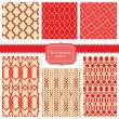 Set of fabric textures with different lattices - seamless patter — Stockvektor