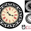 Stock Vector: Set of vintage clocks