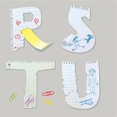 Englisches alphabet - bestehen briefe aus altpapier - buchstaben r, s, — Stockvektor