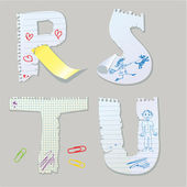 English alphabet - letters are made of old paper - letters R, S, — 图库矢量图片