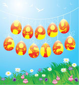 Hanging Easter eggs on spring blue sky background — Stock Vector