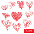 Set of 10 scribbled hand-drawn sketch hearts for Valentines Day - 图库矢量图片