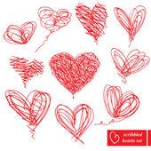 Set di 10 scarabocchiati schizzo disegnato a mano cuori per san valentino — Vettoriale Stock
