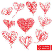 Set of 10 scribbled hand-drawn sketch hearts for Valentines Day — Vettoriale Stock