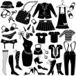 Stok Vektör: Illustration of Woman's clothes, Fashion and Accessory icon set