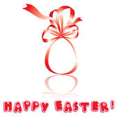 Easter card with egg is made of red ribbon an white background — Stock Vector