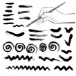 Collection of paint splash. Set of brush strokes and skribbles — Stockvector #19979757
