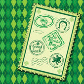 Set of Green grunge rubber stamps with Beer mug, shamrock, hors — Stok Vektör