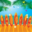 Royalty-Free Stock Vector Image: Summer Holiday card - surf boards with hand drawn text WELCOME