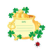 St. Patrick's design - frame is made of gold pot with gold coin — Cтоковый вектор