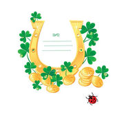 Frame for Saint Patrick's day design with shamrock, gold coins — Vector de stock