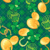 Seamless Saint Patrick day pattern. Shamrock and golden coins on — Stock Vector