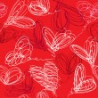 Seamless pattern with hand drawn scribble hearts on red backgrou — Image vectorielle