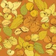 Seamless pattern with highly detailed hand drawn hazelnuts on b — Image vectorielle