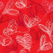 Seamless pattern with hand drawn scribble hearts on red backgrou — Stock Vector