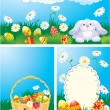 Set of color Easter banners. Easter bunny, basket and eggs in gr — Stockvektor