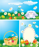 Set of color Easter banners. Easter bunny, basket and eggs in gr — Stock Vector