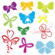 Set of different colors bows — Stock Vector