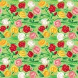 Hand painted roses seamless pattern in pink, red, white and yell — Stock Vector