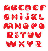 ABC - english alphabet - red funny spiral cartoon letters — Stock Vector