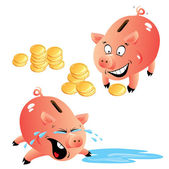 Set of emotions cartoons piggy bank and money — Stock Vector