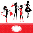 Set of silhouettes of fashionable girls on a white background — Image vectorielle