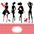 Vector de stock : Set of silhouettes of fashionable girls on white background