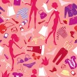 Seamless pattern in pink colours - Silhouettes of fashionable gi — Vecteur #22445637