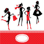 Set of silhouettes of fashionable girls on a white background — Vector de stock