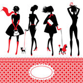 Set of silhouettes of fashionable girls on a white background — Stok Vektör