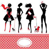 Uppsättning av silhuetter av moderiktiga tjejer på vit bakgrund — Stockvektor