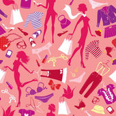 Seamless pattern in pink colours - Silhouettes of fashionable gi — Stok Vektör