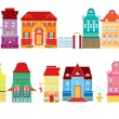 Set of Cartoons fairy tale drawing houses isolated on white back — Stock Vector