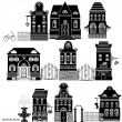 Set of Cartoons fairy tale drawing houses isolated on white back — Stockvektor