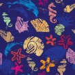 Vettoriale Stock : Seamless background with Marine life - pattern with shells, seah