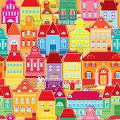 Seamless mönster med dekorativa färgglada hus. staden ändlösa — Stockvektor