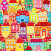 Seamless pattern with decorative colorful houses. City endless — 图库矢量图片