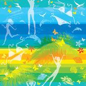Modello di spiaggia estate senza soluzione di continuità, con palme, delfini e b — Vettoriale Stock