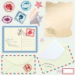 Stock Vector: Postcard, envelope and paper with Retro nautical Stamps - for de