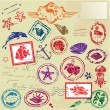 Seand tropical elements - rubber stamps collection — Vector de stock #23381758